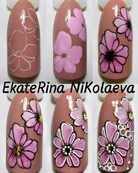 Vitrail style nail art flowers