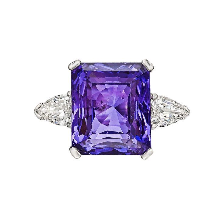 Estate Betteridge Collection 13.53 Carat Purple Sapphire & Diamond Ring