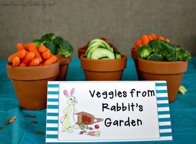 WINNIE THE POOH SIMPLE CENTERPIECES | Winnie the Pooh Party - Rabbit's Garden