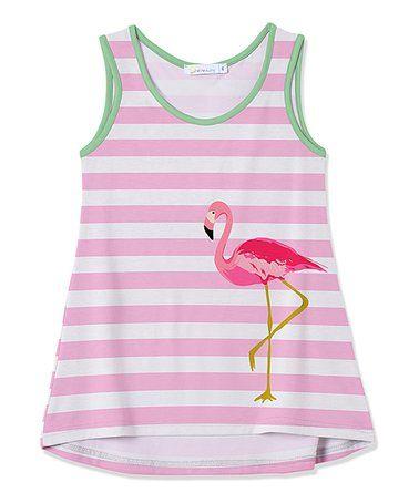 cf854d6ac958 Loving this Pink Stripe Flamingo Hi-Low Tank - Toddler  amp  Girls on