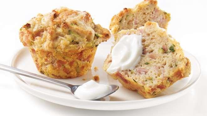 Muffins au jambon blanc et au cheddar.Recettes IGA