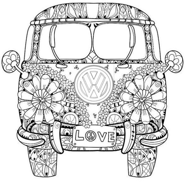 10 Classical Vw Bus Coloring Pages Printable Free Adult