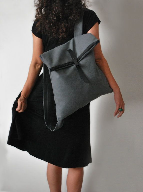 Convertible Backpack Messenger bag Black by misirlouHandmade