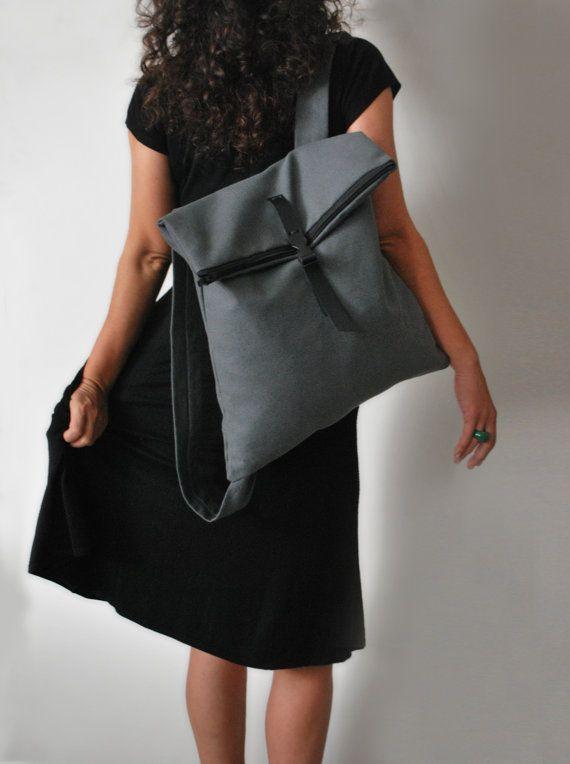 Chic backpack Messenger bag Gray waterproof canvas Leather closure Fashionable bag Handmade women bag Minimal light bag Gift for her