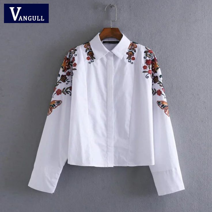 Europe and the United States fashion butterfly flower embroidery embroidered shirt blouse turn down collar casual tops blusas