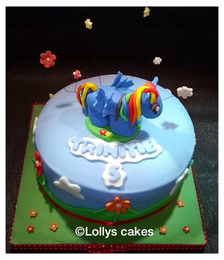 i love this cake. it is super cute with rainbow dash sitting proudly on top x