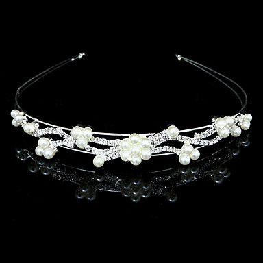 nydelige klare krystaller og imitasjon perler bryllup brude tiara / headpiece / hodebånd – NOK kr. 49