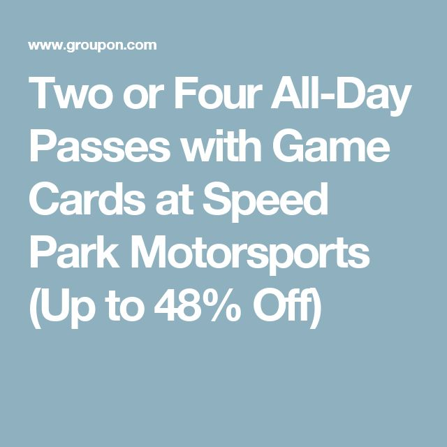 Two or Four All-Day Passes with Game Cards at Speed Park Motorsports (Up to 48% Off)