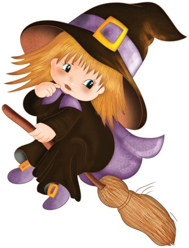 cute halloween baby witches cartoon clip art images are on a transparent background - Cute Halloween Witches