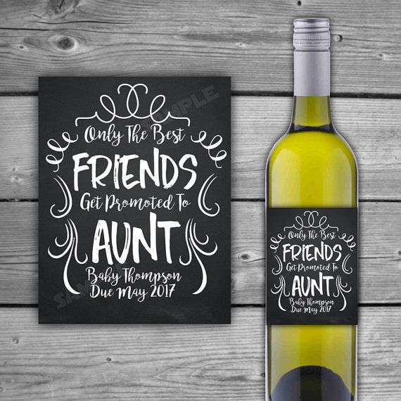 Pregnancy Announcement Idea / Wine Label / Gift / New Baby / Due Date / Reveal / Friends Promoted To Aunt / Chalk / Swirls / Baby Shower Gift