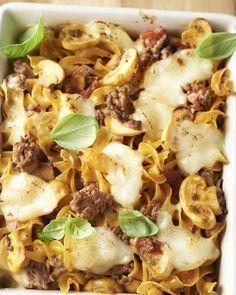 Spirelli met gehakt en mozzarella in de oven