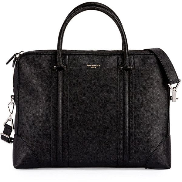 Givenchy L.C. Small Leather Briefcase ($2,290) ❤ liked on Polyvore featuring men's fashion, men's bags, men's briefcases, bags, men, bolsas, carteras, malas, black and men bags briefcases