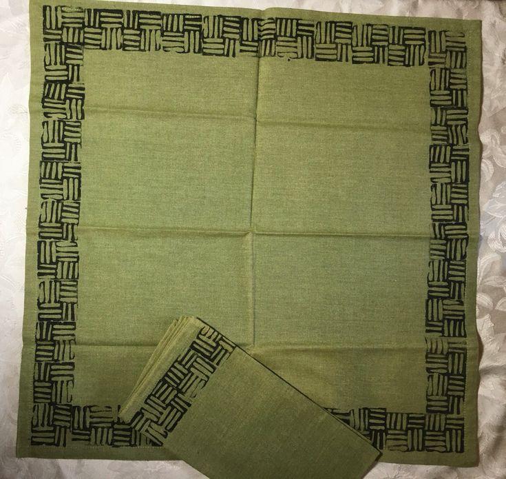 Block Print Napkin Sets Of 2 Moss Green Cotton Fabric Cross Etsy Block Print Napkins Set Printed Napkins