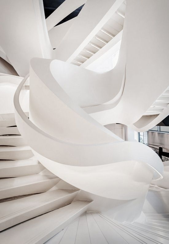 White curved staircase....this is truly inspirational and totally beautiful. Armani Fifth Avenue, Massimiliano Fuksas
