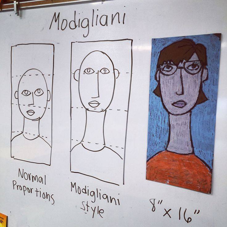 My classroom instructions for my Modigliani Self Portrait project. #selfportrait #modigliani