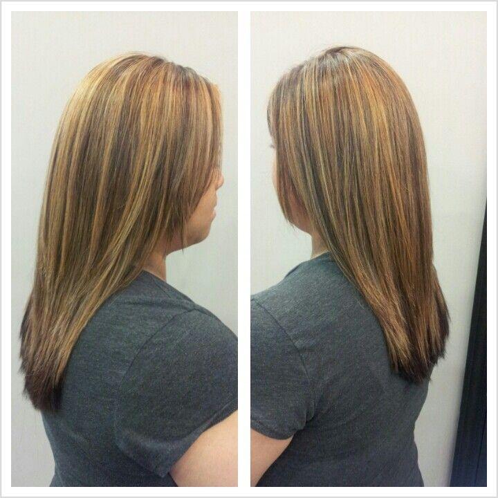 Partial Blonde Highlight And Dark Mahogany Hair Color My
