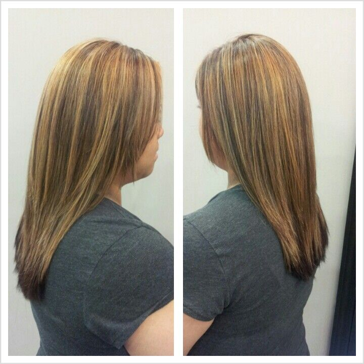 Partial blonde highlight and dark mahogany hair color | my work ...