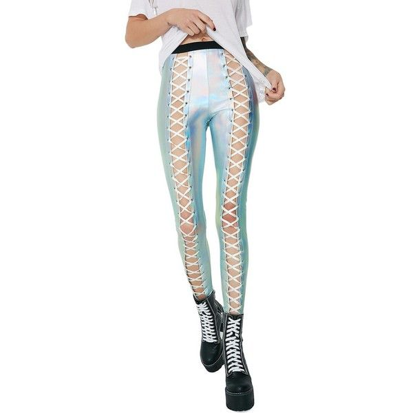 Club Exx Holographic Nancy Corset Leggings ($45) ❤ liked on Polyvore featuring pants, leggings, hologram, lace up leggings, holographic leggings, high-waisted leggings, high waisted leggings and silver leggings