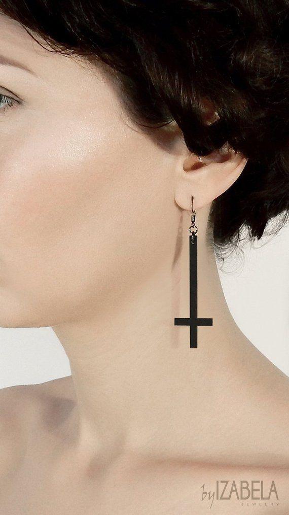 Inverted Cross Hoop Earrings