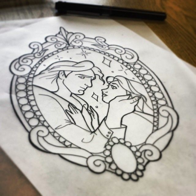 Belle and Adam from Beauty & the Beast --- Pretty Grotesque Tattoo Designs