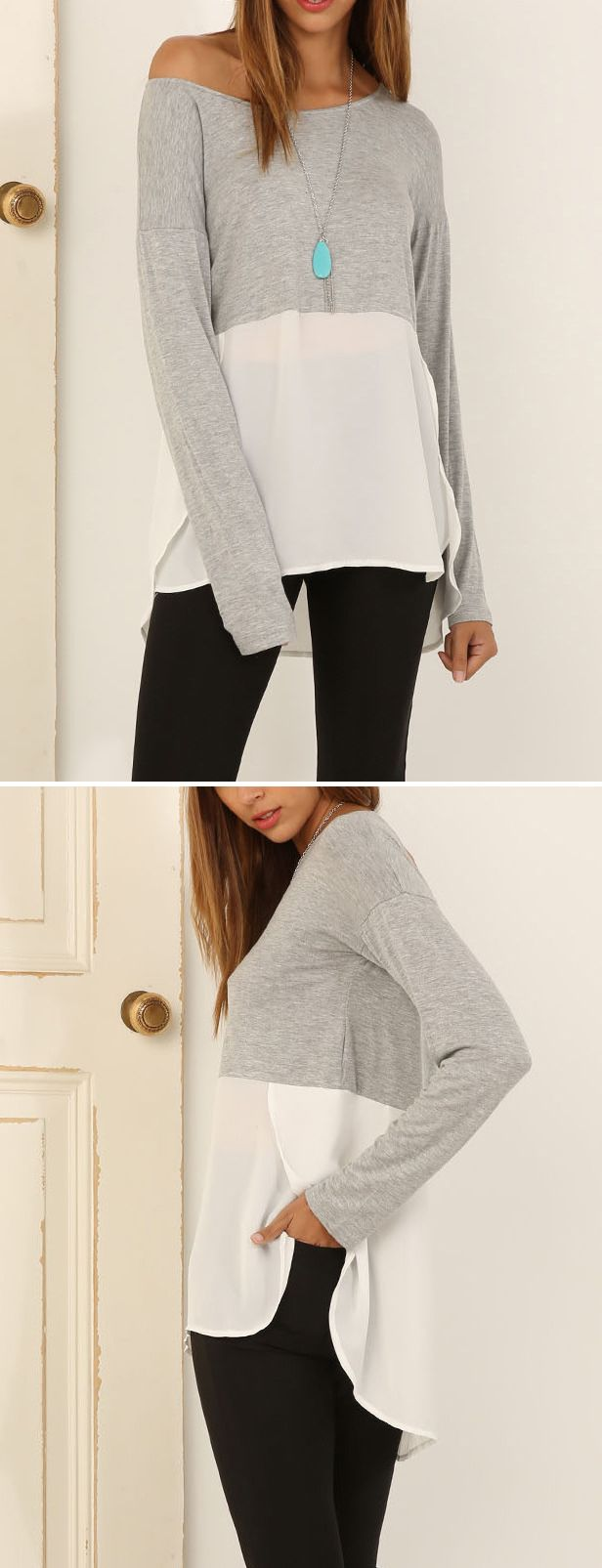 The perfect fall outfit ! Do u love the Color Blocked High Low Long Sleeve Tee?Shop it with three simple steps.
