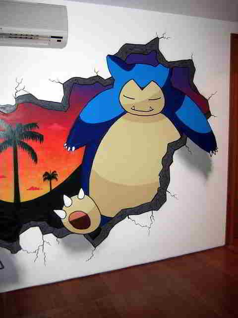 Snorlax wall painting! I want this in my future house, in ...