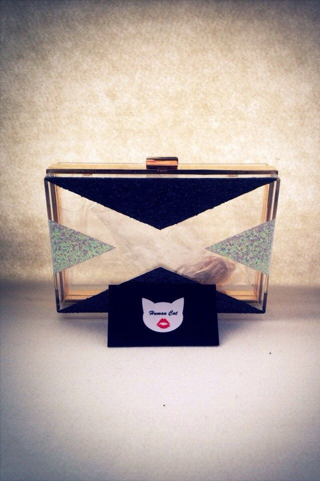 Handmade Black And white Pop art smallClear Transparent Perspex Acrylic Box Clutch, Evening bag, Shoulder bag with golden chain  #humancat #handmade #clutch