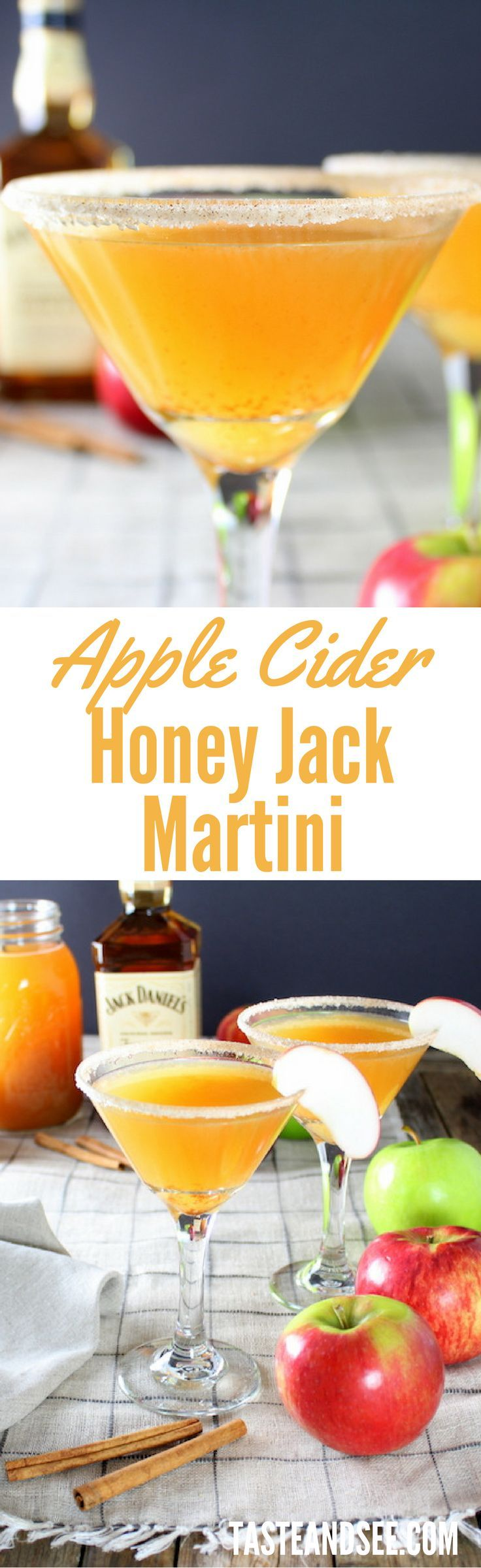 Apple Cider Honey Jack Martini – apple pie in a glass!   http://tasteandsee.com