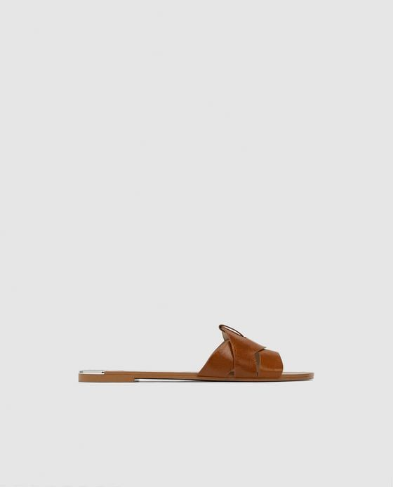 ZARA - WOMAN - LEATHER CROSSOVER SANDALS