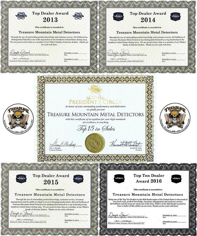 Treasure Mountain Detectors ~ Whites Metal Detectors Awards! http://treasuremtndetectors.com/