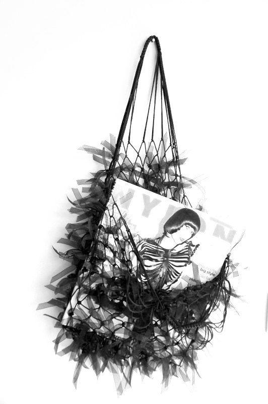 Hairy Black Net Bag  Free Shipping  purses by bestbazaar on Etsy, $25.00