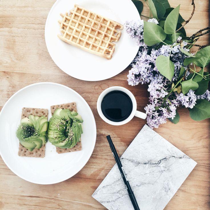 Avocado toast and waffle