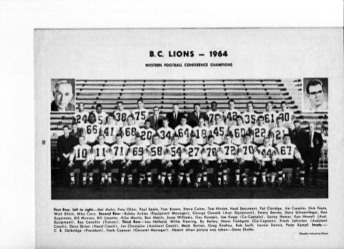 1964 BC Lions Team Photo
