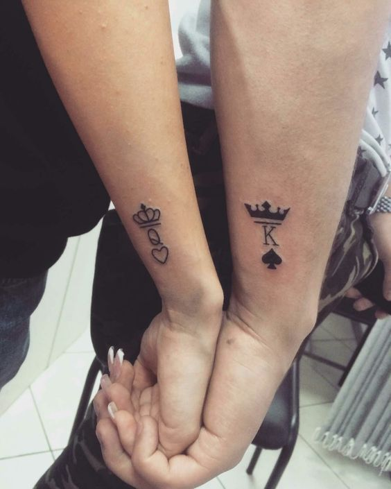 cb15f38a16d19 Matching Couple Tattoos Ideas--His & Hers King And Queen Tattoo, couple  tattoo ideas, couple tattoos, matching couple tattoos,