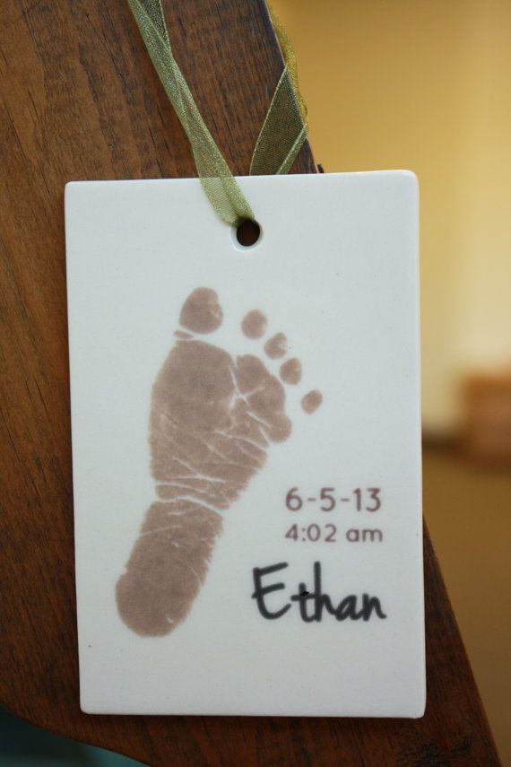 Ceramic Baby Footprint Ornament, Personalized