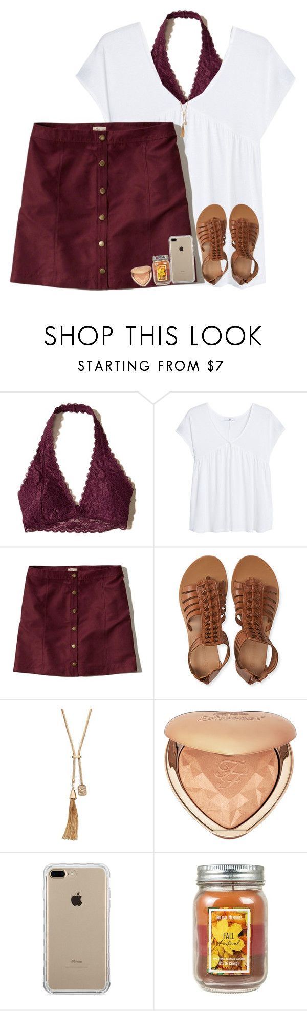 """1st day of fall ((:"" by arieannahicks on Polyvore featuring Hollister Co., MANGO, Aéropostale, Jennifer Lopez, Too Faced Cosmetics and Belkin"