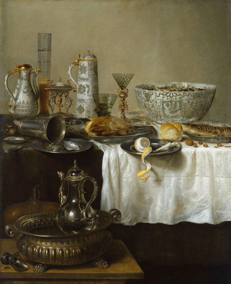 Willem Claesz Heda: pronkstilleven. 1638. Hamburger Kunsthalle, Hamburg. Op een tafel met teruggeschoven wit tafelkleed staat Chinees porselein, een zoutvat en verschillend glaswerk. De afbeelding op de grote kom is een hydra met 7 koppen waaronder de tekst: niets nieuws voor de wijze. Naast een omgevallen zilveren beker liggen op borden: een gebraden parelhoen, een snoek met olijven, oesters en een half geschilde citroen. Op een krukje voor de tafel staat een koelschaal en een pompoenfles.