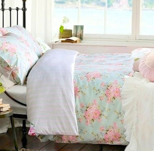 Aqua blue pink roses shabby beach cottage chic duvet