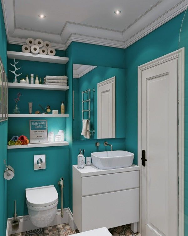The bathroom is beautiful in a bright and boisterous teal. White fixtures, deep wood, and this color would be gorgeous!