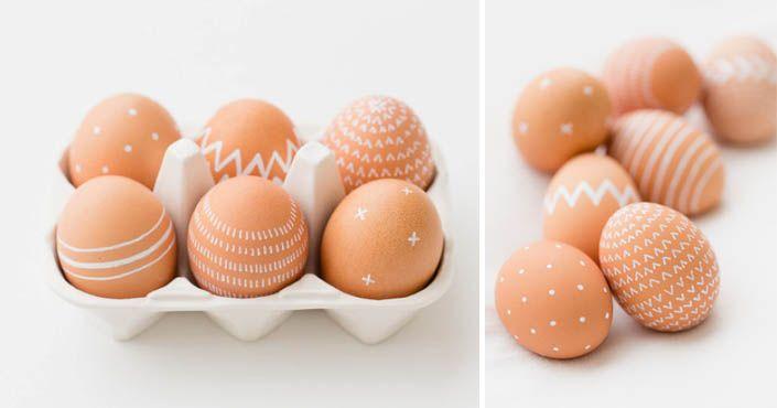 Kreatívny DIY nápad s návodom ako postupovať a jednoducho ozdobiť veľkonočné vajíčka na poslednú chvíľu. Zdobenie, maľovanie, Veľká Noc, dekorácie, ozdoby