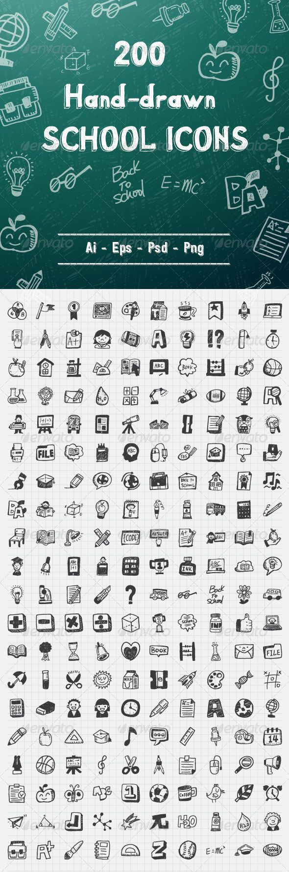 200 Hand Drawn School Icons - Objects Icons