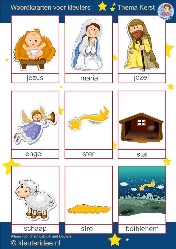 Woordkaarten voor kleuters, thema kerst, Preschool christmas theme, nativity free printable.