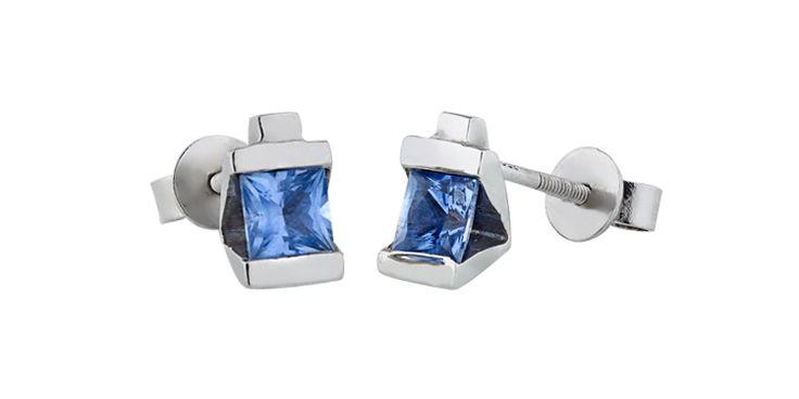 sapphire platinum earrings - bespoke jewellery by Ivy&I.