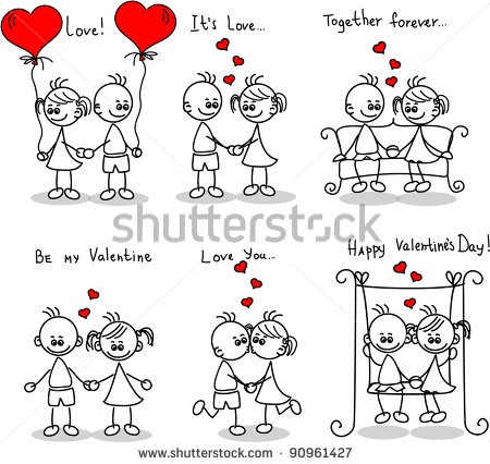 stock vector : Couple in love, a child's drawing, the vector