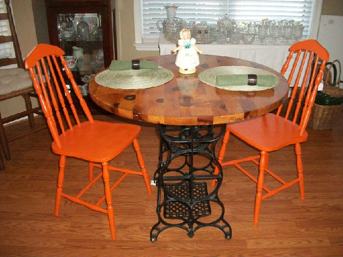 Round treadle table....we have the base in stock @ Lost and Found Thrift, Bountiful Utah...www.lostandfoundthrift.com