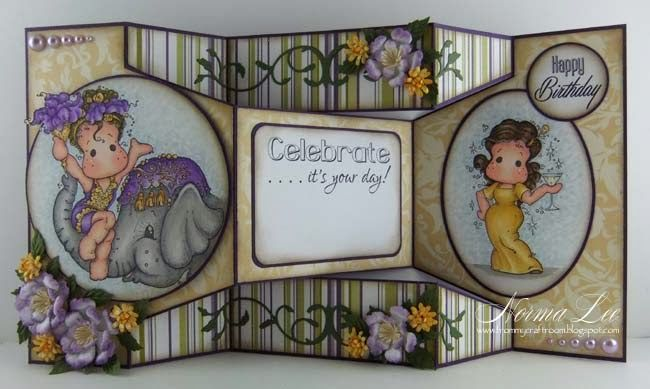 handmade trifold card from From My Craft Room ... beautiful example to go along with the template ... luv the Copic coloring ... fantastic card!