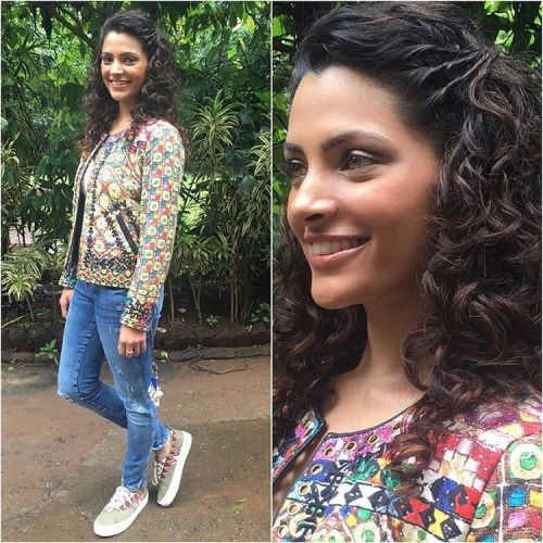 Saiyami Kher is all smiles at the promotions of Mirzya!...