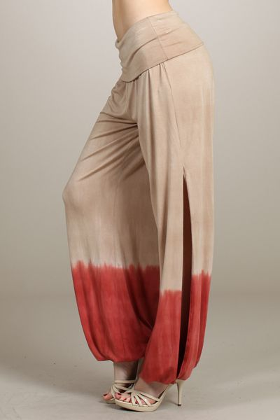 Tie dyed, wide leg pants with side slits,elastic hem and ...
