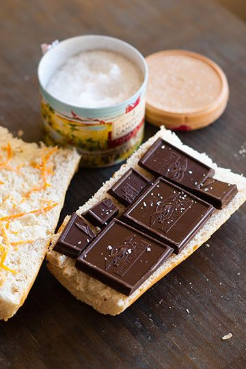Chocolate Baguette Sandwiches with Orange and Sea Salt.  These are A-MAZING.
