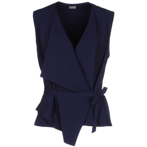 Mantù Top (£269) ❤ liked on Polyvore featuring tops, shirts, dark blue, pocket shirt, dark blue shirt, snap shirt, blue sleeveless top and dark blue tops